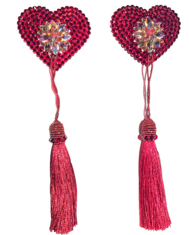 Red Crystal Embossed Heart Pasties with Detachable (Red Tassel)