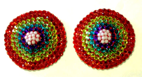 Round Rainbow Crystal Nipple Pasties