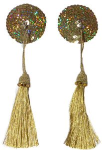 Round Gold Sequin Pasties with Detachable Gold Tassel