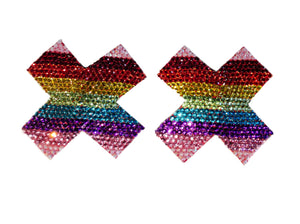 Pride Flag Crystal Cross Nipple Pasties