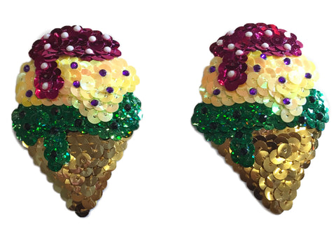 Sundae Ice Cream Sequin Nipple Pasties