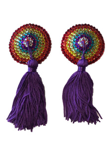 Round Rainbow Crystal Nipple Tassel (Purple Tassel)