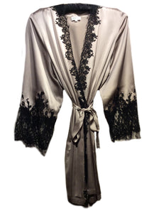 Fumee Silk Robe with Noir Lace Applique by Marjolaine