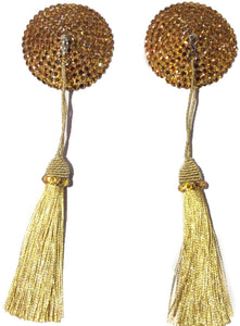 Round Gold Crystal Pasties with Detachable (Gold Tassel)