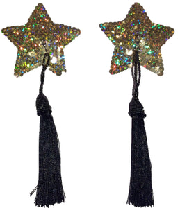 Gold Stars Sequin Pasties with Detachable Black Tassels