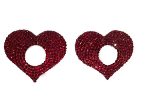 Crystal Red Hearts Open Pasties