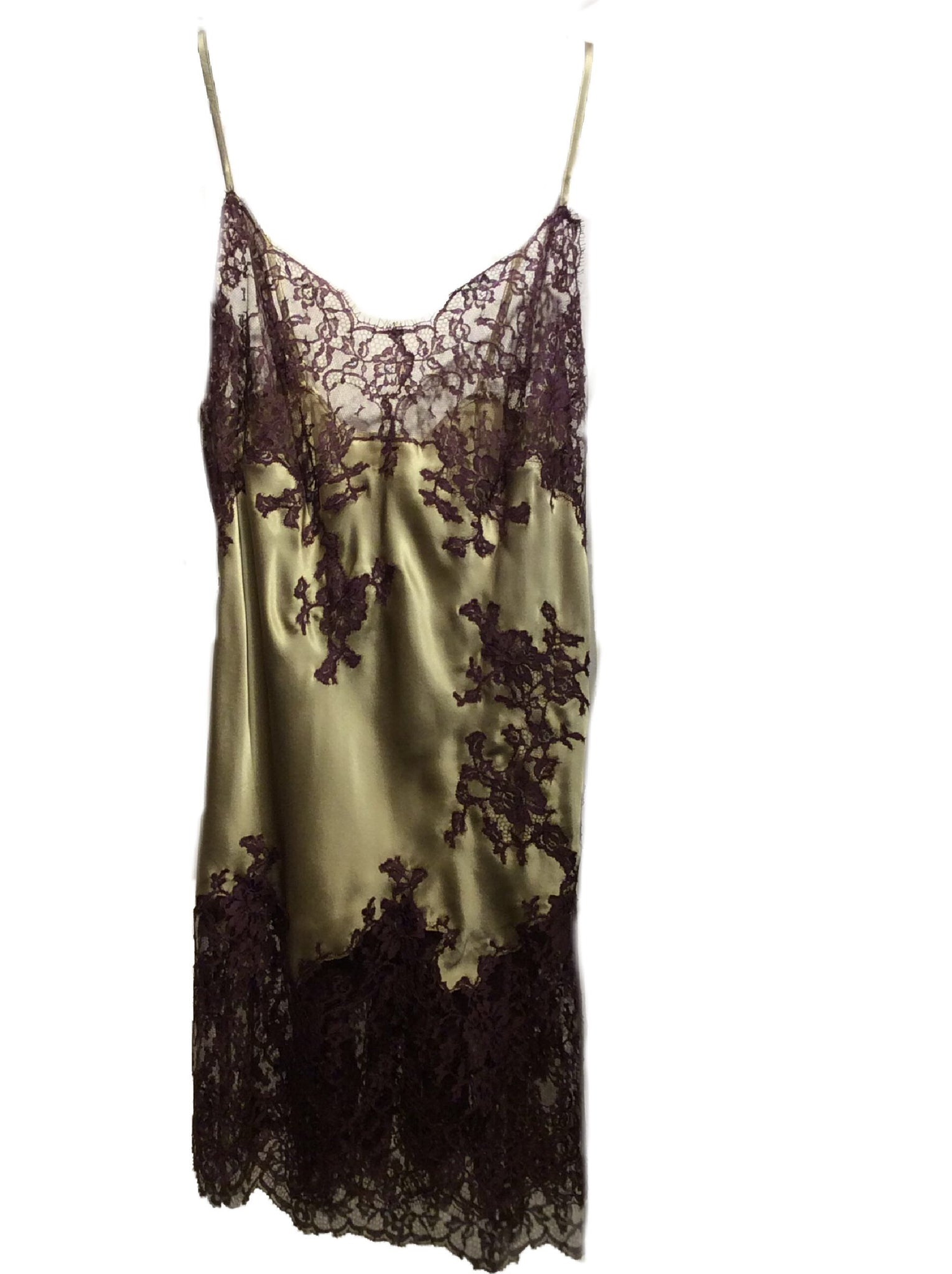 Sage and Auburn Marjolaine Silk Slip with Lace Applique