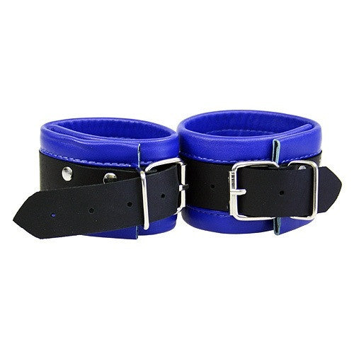 Black and Blue Leather Ankle Restraints - She Said Boutique - 2