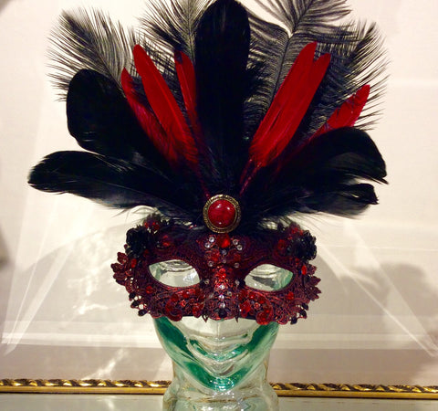 Red Masquerade Mask - She Said Boutique - 1
