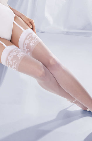 White Sheer Floral Bridal Stockings - She Said Boutique