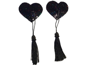 Black Sequin Heart pasties with Detachable Black Tassel