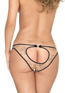 Open Back Panty - Nude Floral Lace