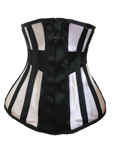 Longline Underbust Corset in Black / White Contrast