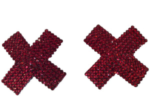Red Crystal Cross Nipple Pasties