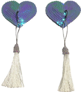 Baby Blue Sequin Heart pasties with Detachable Silver Tassel