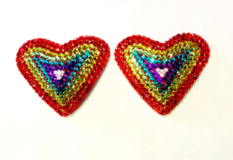 Heart Rainbow Crystal Nipple Pasties