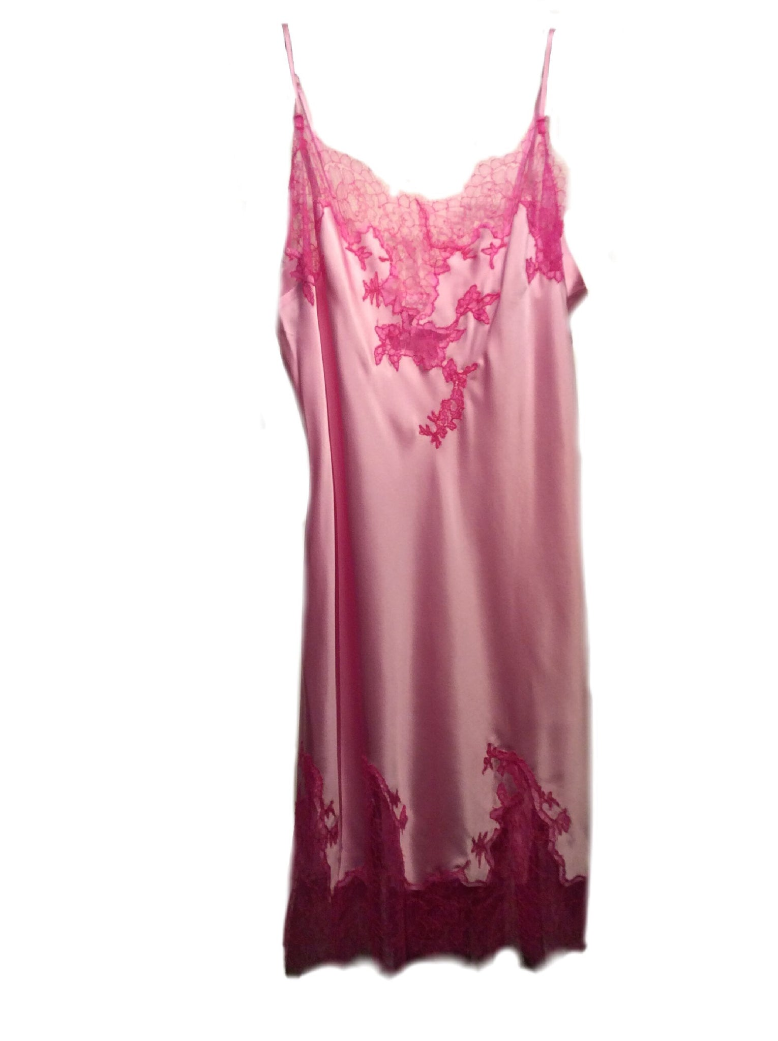Baby Pink and Rose Marjolaine Silk Slip with Lace Applique