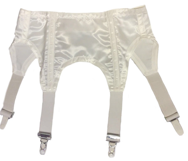 Four Strap Retro Suspender Belt - White