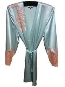 Pale Aqua Silk Robe with Vintage Peach Lace Applique by Marjolaine