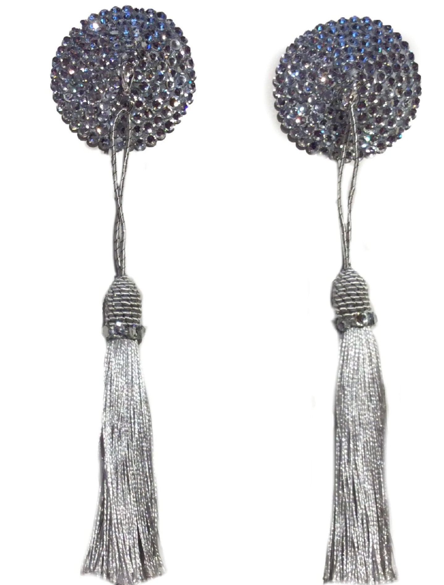 Small Round Silver Crystal Pasties with Detachable (Silver Tassel)