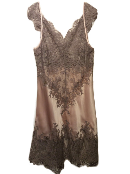 Gorgeous Marjolaine Gold Silk Slip with Lace Applique