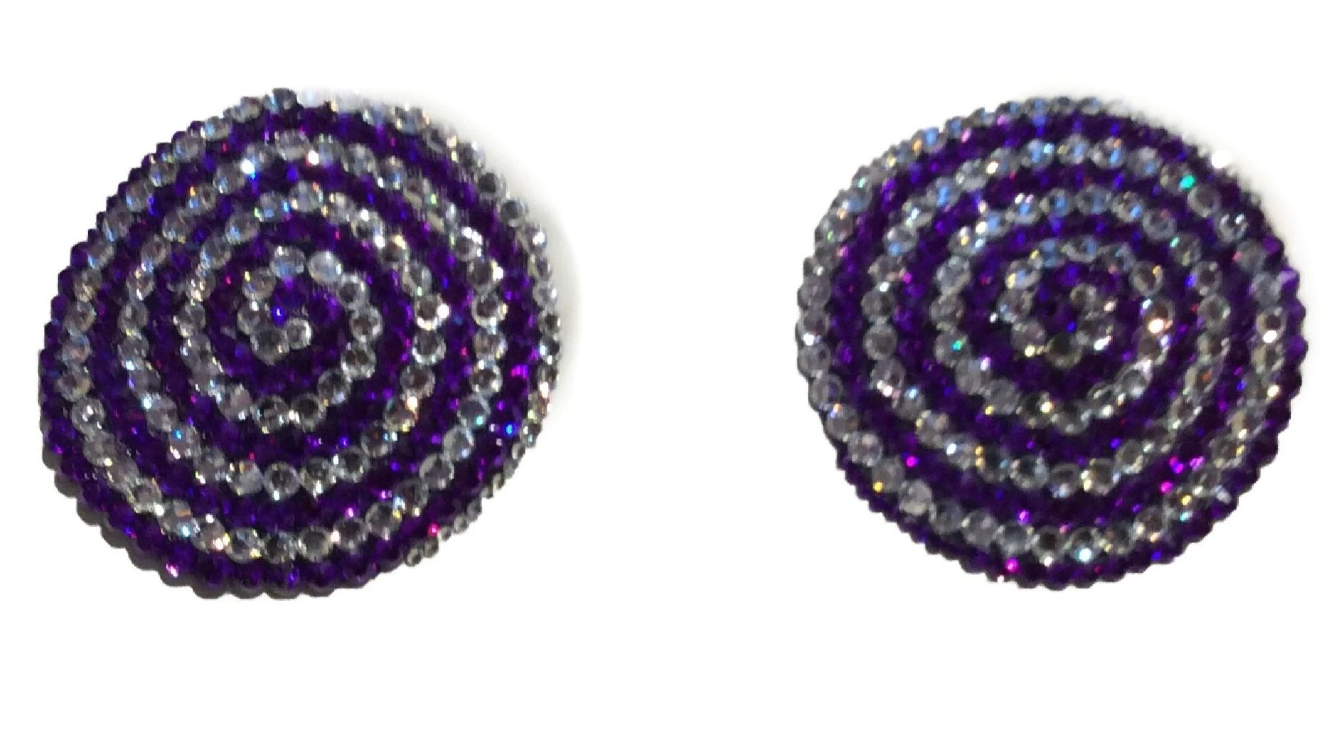 Round Pink & Silver Swirl Crystal Pasties
