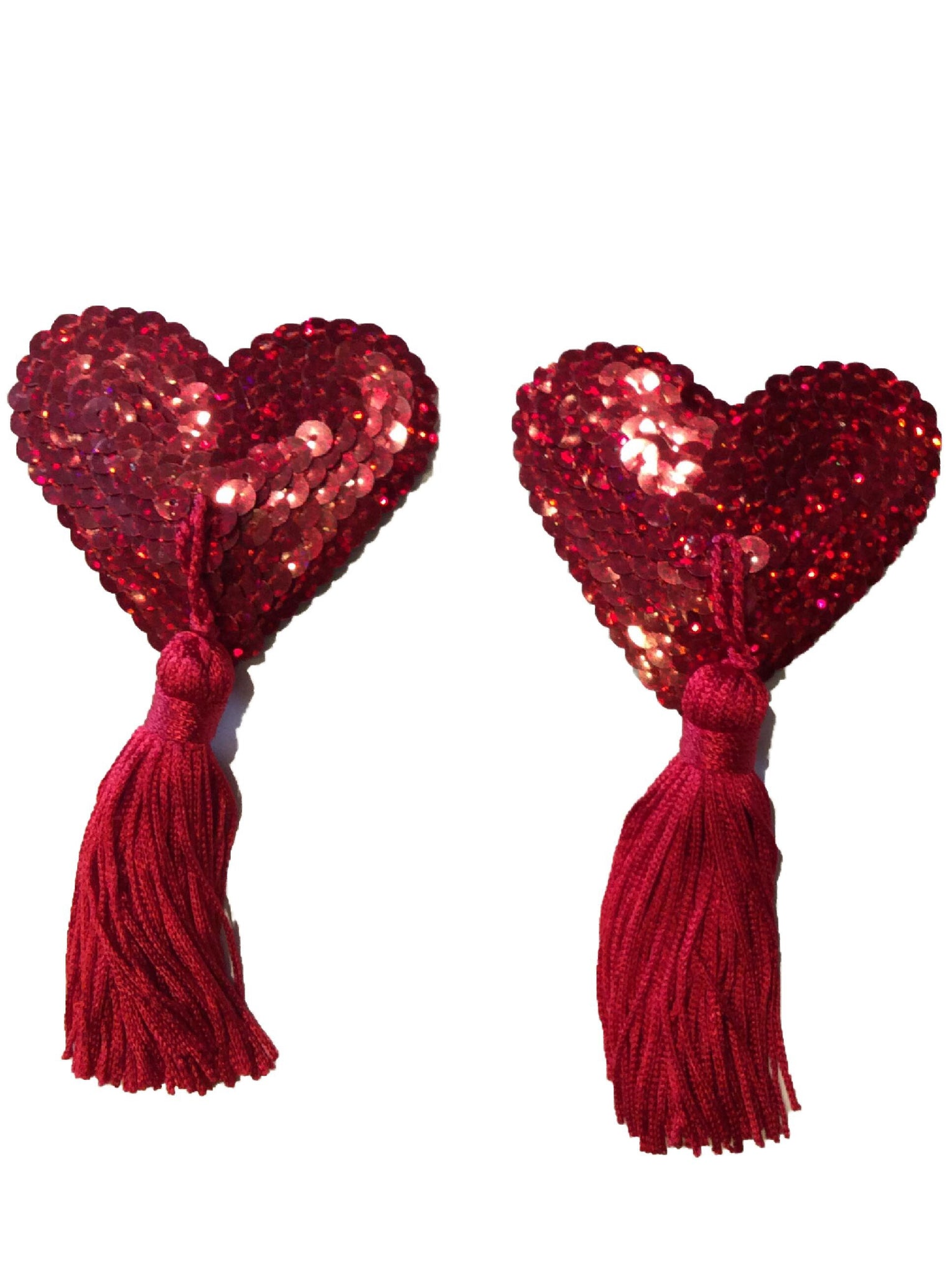 Red Heart Sequin Tassel (red tassel)