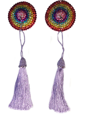 Round Rainbow Crystal Pasties with Detachable Lilac Tassel