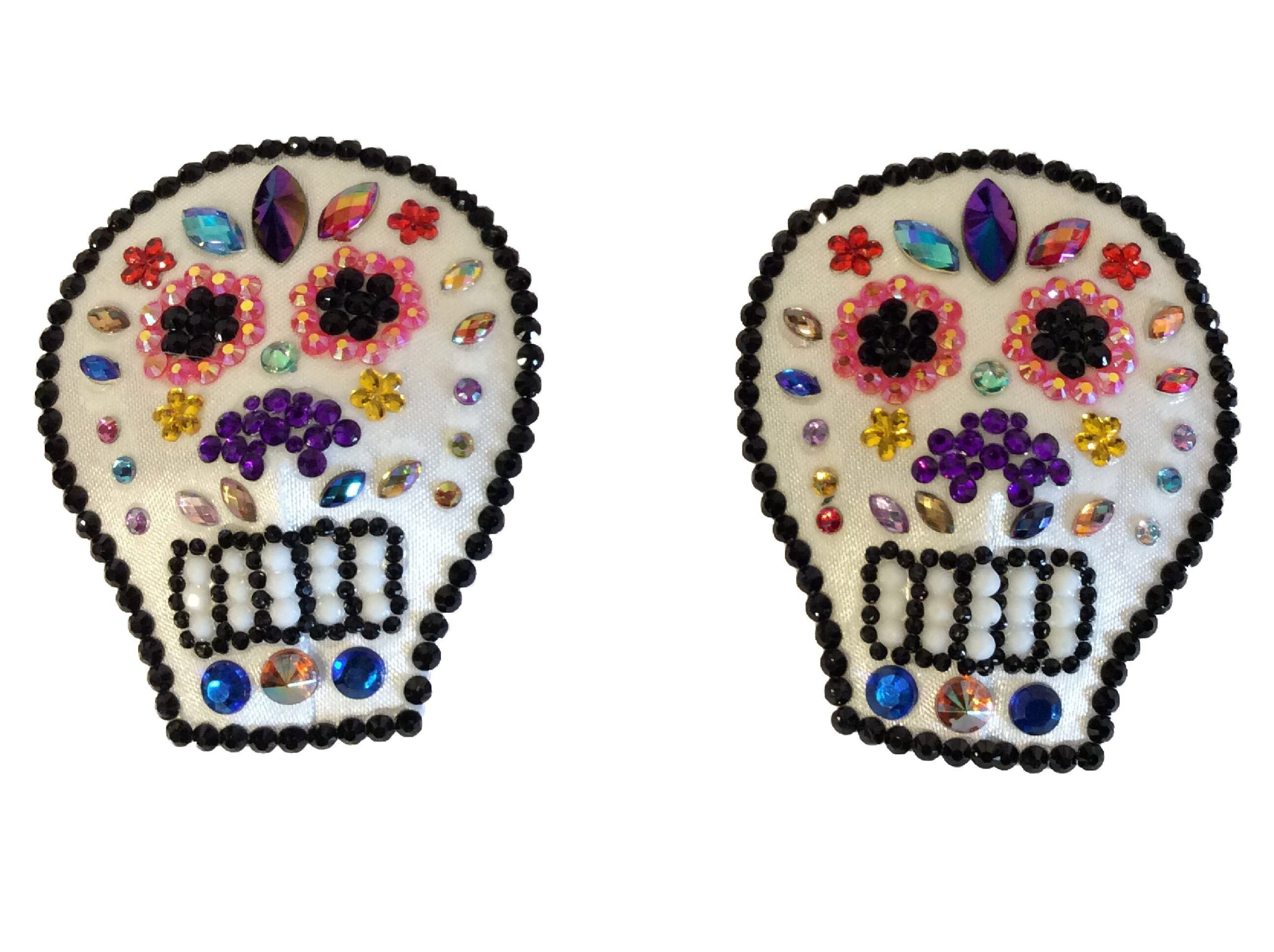 Sugar Skull Crystal Nipple Pasties (Small)