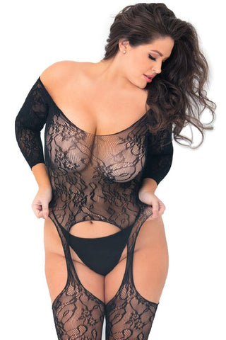 Sleeved Suspenders Floral Net Bodystocking