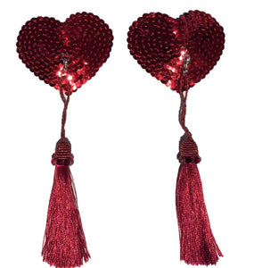 Red Heart Sequin Pasties with Detachable Red Tassels