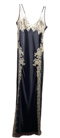 Black &  Stone Full Length Pure Silk Gown by Marjolaine