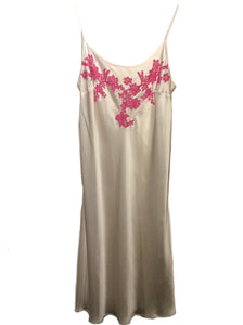 White and Pink Marjolaine Silk Slip with Lace Applique