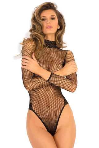 Long-sleeved Fishnet and Lace Teddy