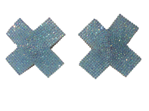 Baby Blue Crystal Cross Nipple Pasties