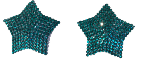 Crystal Peacock Blue Stars Nipple Pasties