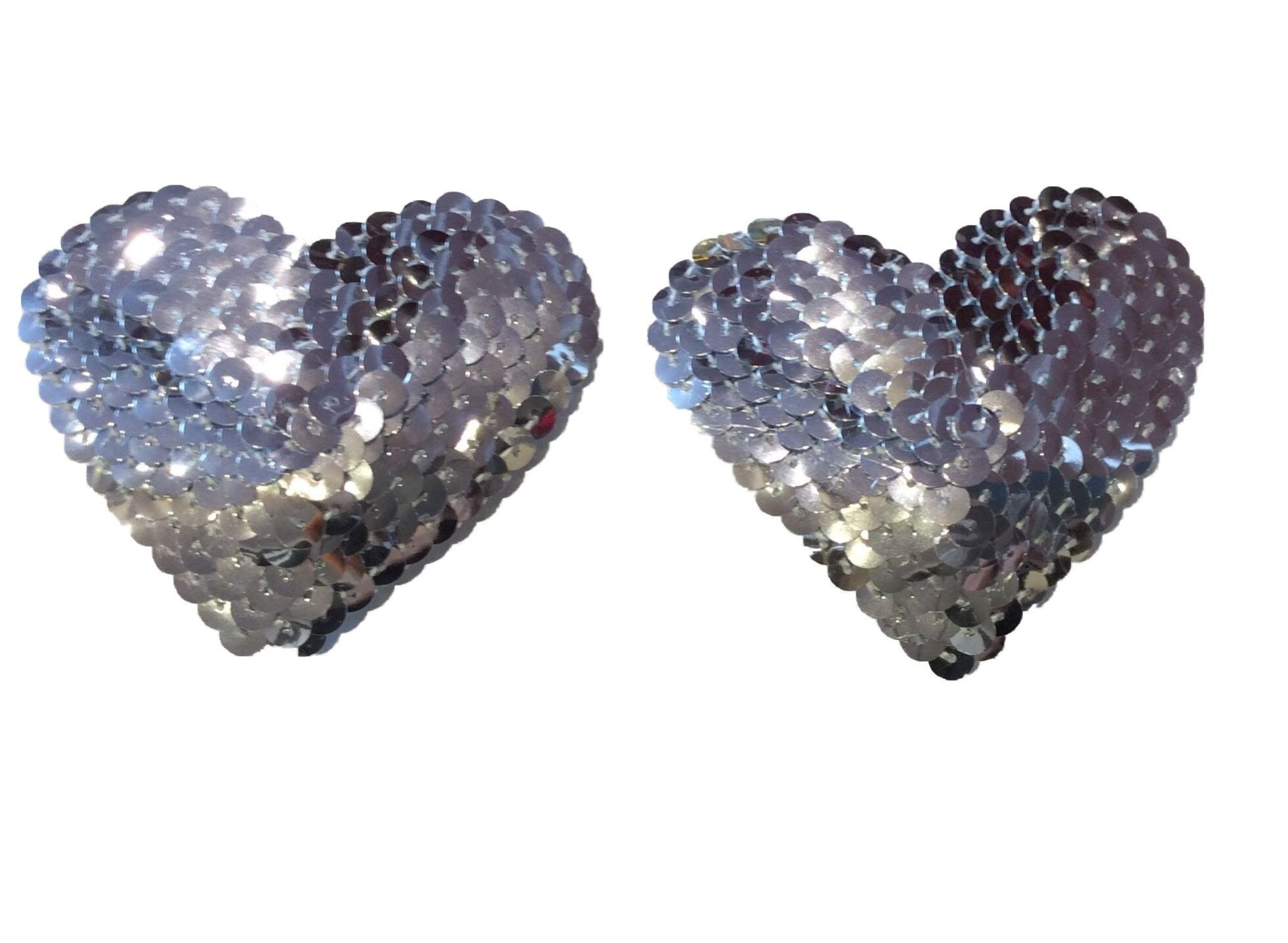 Silver Heart Sequin Pasties