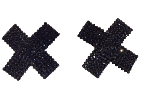 Black Crystal Cross Nipple Pasties