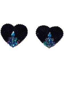 Black Crystal Heart Embossed Pasties