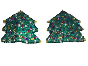 Christmas Tree Crystal Nipple Pasties