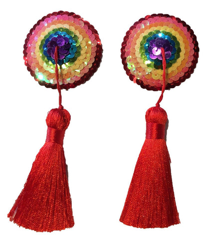 Round Sequin Rainbow Nipple Tassel (Red Tassel)