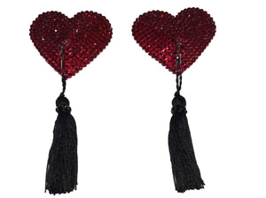 Red Crystal Heart Detachable (Black Tassel)