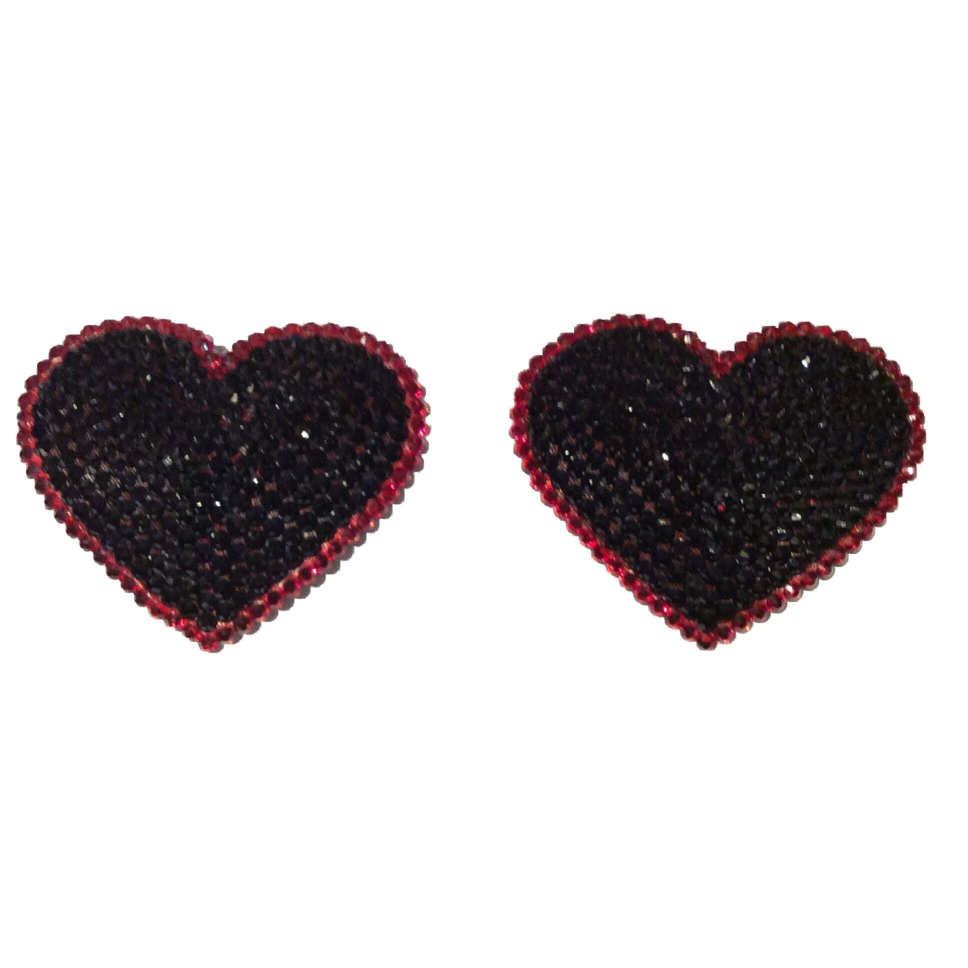 Black Hearts Crystal Pasties with Red Edge