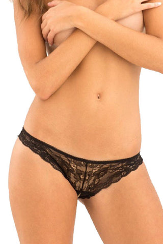 V-Back Crotchless Lace Brief