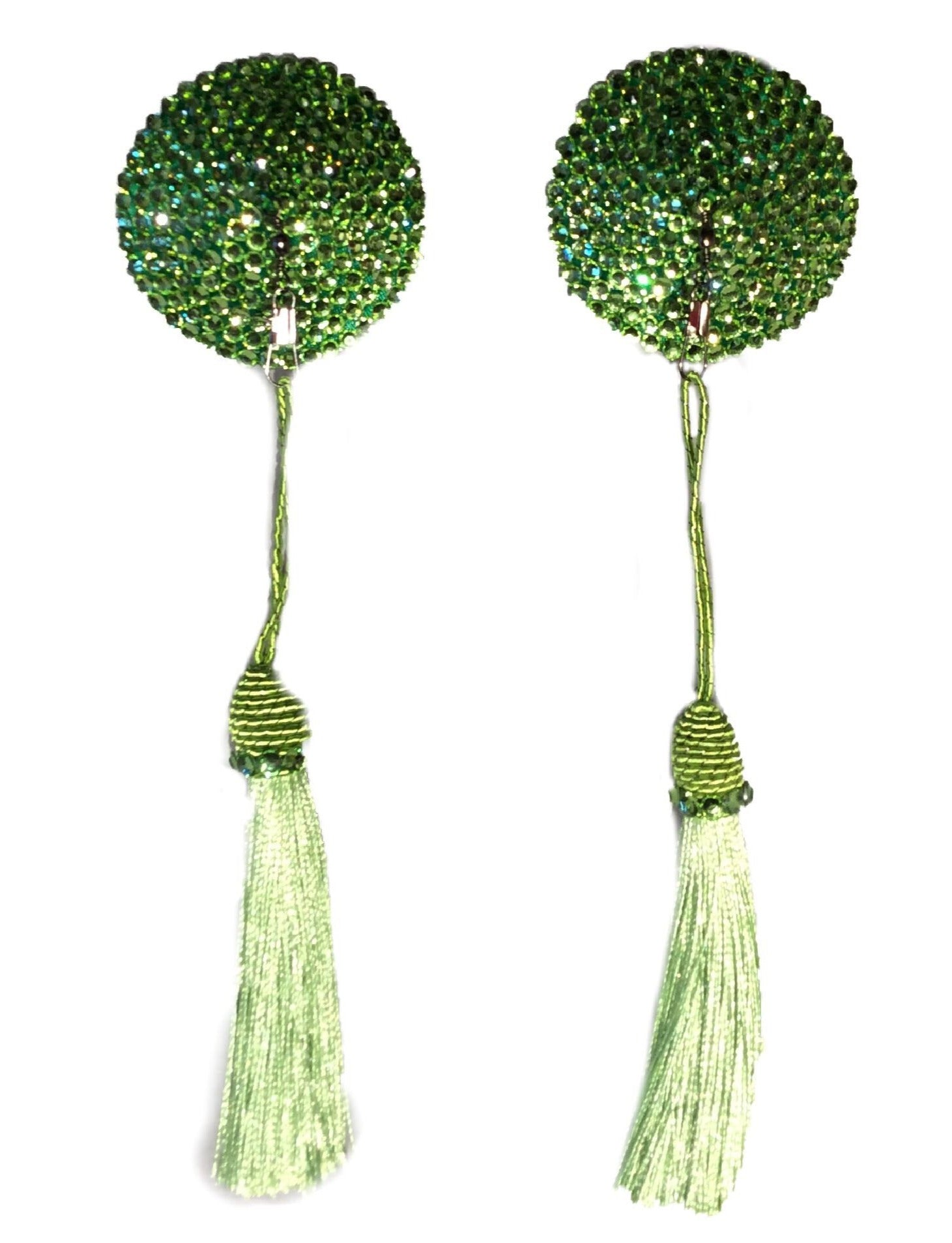 Round Lime Green Crystal Pasties with Detachable (Green Tassels)