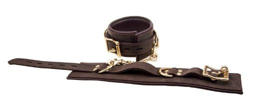 Pleasure Bound Nubuck Leather and Gold Wrist Cuffs - She Said Boutique - 2