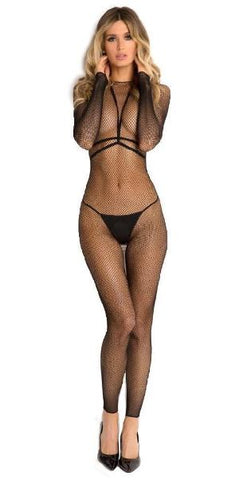 Long-sleeved Fishnet Plunge and Harness Body Stocking