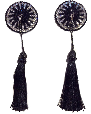 Round Black & Silver Crystal Pasties with Detachable (Black Tassel)