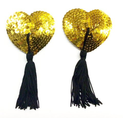 Gold Heart Sequin Nipple Tassels - She Said Boutique
