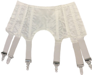 Six Strap Retro Suspender Belt - White